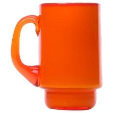 PALET orange mug by Michael Bang for Holmegaard in 1969. Danish Modern glassware design.