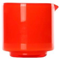 PALET orange creamer by Michael Bang for Holmegaard in 1969. Danish Modern glassware design.