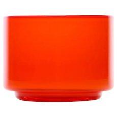 PALET orange sugar bowl by Michael Bang for Holmegaard in 1969. Danish Modern glassware design.