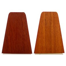 TEAK BOOKENDS PAIR - Danish mid century modern bookends with steel feet