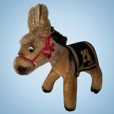 RARE US Military Academy WEST POINT Army MULE Donkey Mohair STEIFF Mascot Toy