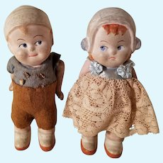 Sad Sister & Mischievous Brother Pair of Antique Boy & Girl Composition Dolls