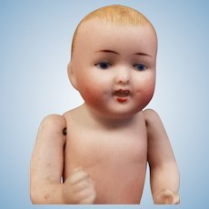"""Antique 4"""" German All Bisque Painted Eye Baby #830"""