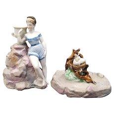RARE BISQUE 2 Piece Greek Mythology LEDA AND THE SWAN Hatching Children