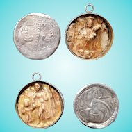18th Century Silver Locket 2 Sided Gesso Madonna & Baby Jesus/Joseph & Jesus