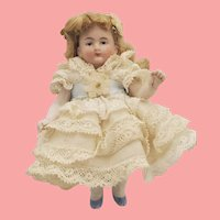 """3.5"""" Antique German All Bisque Dollhouse Size Doll"""
