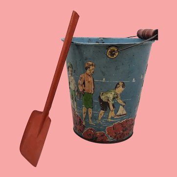 Antique Child's Tin Lithographed Toy Sand Pail Bucket