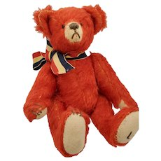 "8"" Artist Made Red MOHAIR Jointed Toy Teddy Bear"