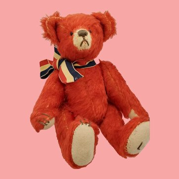 """8"""" Artist Made Red MOHAIR Jointed Toy Teddy Bear"""