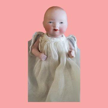 "Antique 4"" ALL Bisque German Bye-Lo Baby Doll w/Original Label"