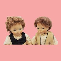 "Pair 10"" Artist Erika Catellani Wood Dolls"