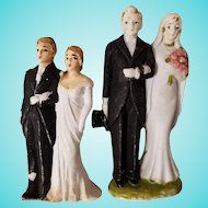 Occupied Japan Bisque & Plaster Wedding Couple Cake Toppers (2)