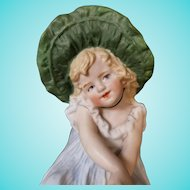 Antique Marked Gebruder Heubach Shy Girl with Big Green Bonnet Hat