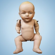 "6"" All Bisque Antique German Painted Eye Jointed Baby Doll"