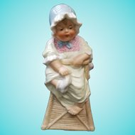 "7"" Antique Gebruder Heubach Piano Baby in High Chair Bisque Figurine"