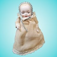 "Antique 4"" Painted Eye All Bisque German Baby Doll Dressed w/Booties"