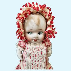 "Charming 5 3/4"" All Bisque Nippon Painted Eye Doll Dressed in Stripes!"