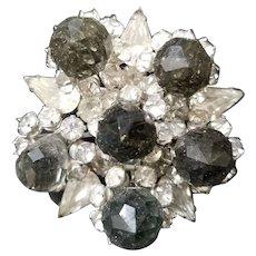 1938-42 Vintage Eisenberg Original Large Rhinestone Crystal & Swarovski Pin Brooch