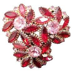 Vintage Pinwheel Crystal Garnet Ruby and Pink Rhinestone Pin Brooch