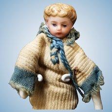 """3.5"""" Antique German Hertwig Dollhouse Boy Young Man Doll"""