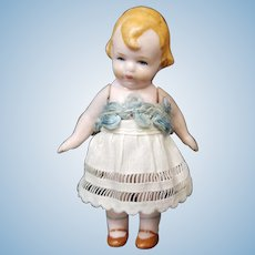 """Adorable 3"""" Antique All Bisque Hertwig German """"MIBS"""" Doll"""