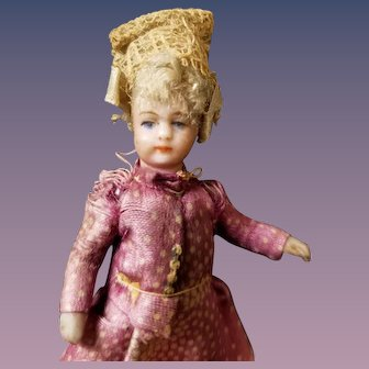 "3"" Antique Factory Original French DollHouse Miniature Bisque Doll"
