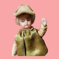 "3"" Antique Factory Original French Dollhouse Miniature Jockey Boy Doll"