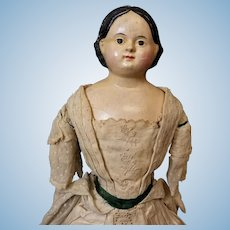 "20"" Antique American Papier Mache & Cloth Ludwig Greiner-Type Doll"