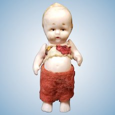 "Tiny 2"" ALL Bisque Original Dressed German Hertwig Boy Doll"