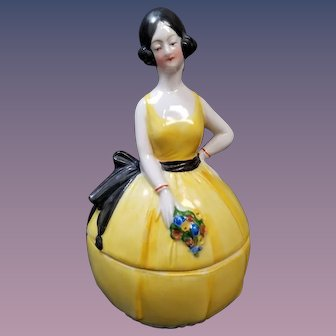 German Porcelain Deco 2 Piece Lady Powder Dresser Jar