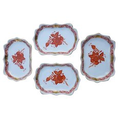 4 Vintage Herend Porcelain Rust Chinese Bouquet Mini Scalloped Trays