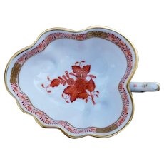 Vintage Herend Porcelain Rust Colored Chinese Bouquet Leaf Tray Dish