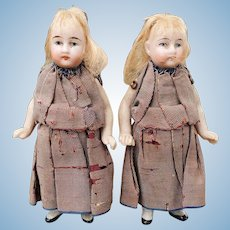 """PAIR of Antique All Bisque German Doll House 3.75"""" Dolls Sisters Twins"""