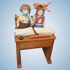 Antique German All Bisque Doll Schoolroom w/Children & Teacher