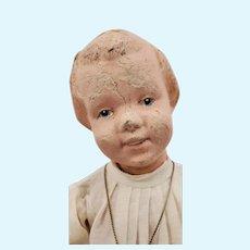 Carved Hair Wood Schoenhut Doll #101 w/Bow