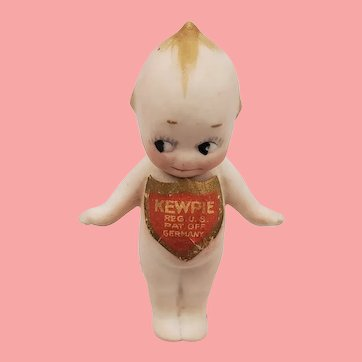 """Tiny Antique 2.5"""" All Bisque German Rose O'Neil Kewpie Doll W/Full Label"""