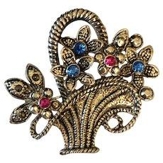 AAI Brooch - Silver Tone Flower Basket
