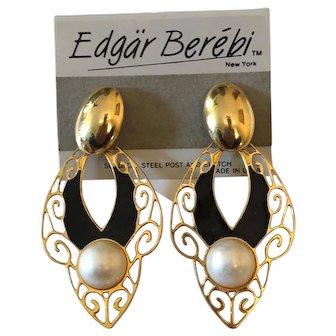 Edgar Berebi Earrings - Black Enamel Gold Tone Earring with Simulated Pearl