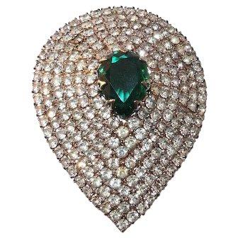 Celebrity NYC - Teardrop Simulated Emerald & Clear Rhinestone Brooch