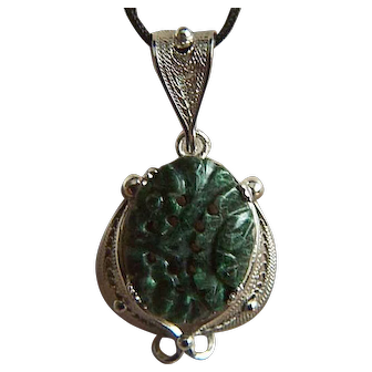 Fabulous Vintage Sterling Carved Deep Rich Green Jade Cabochon Pendant - GRADE A