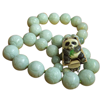 """ONE OF A KIND Chinese Natural Large Jadeite Jade Bead with Panda Clasp Necklace 321.8 g 23"""""""