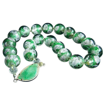 ONE OF A KIND - Large Flower Lampwork Beads Jade Butterfly Sterling  Clasp Necklace