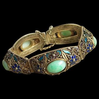 Vintage Chinese Export 5 GRADE A Jadeite Jade Cabochons Cloisonne Enameled Bracelet