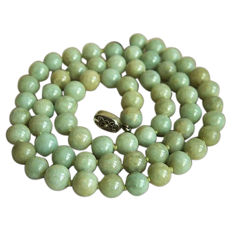 "Exquisite Vintage Chinese Jadeite Jade Silver Necklace 26 3/4"""
