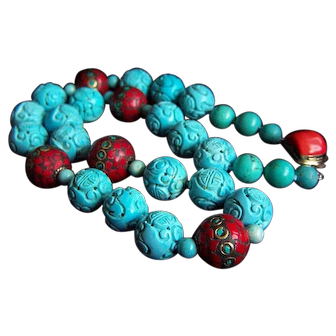 ONE OF A KIND Amazing Vintage Chinese Carved Turquoise Coral Mosaic Necklace
