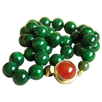 "Fabulous Estate Mottling Deep Green Jade Carnelian Clasp Necklace 18 1/2""  80g"