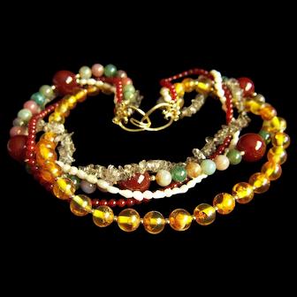 "Amazing Vintage Jade Amber Carnelian Pearl Rock Crystal 5 Strands Necklace 18"""