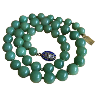 """Vintage Chinese Export Jade Cloisonne Clasp Necklace 21""""    66.45 g"""