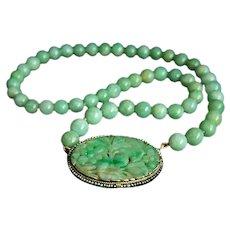 "ONE OF A KIND Vintage Large 14K Jadeite Jade Clasp Pendant Necklace 17"" 46.06 g"