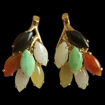 Fabulous Vintage Fine Solid 14K Natural GRADE A Jadeite Jade Pierced Earrings